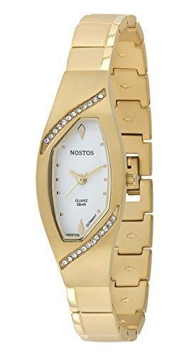 Osco Germany Noble Armbanduhr Damenuhr vergoldet Titan Weiß Steinchen NOS06143001