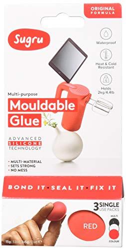 Sugru pasta adesiva modellabile - formula originale - bianco, rosso e grigio (3 confezioni monodose)