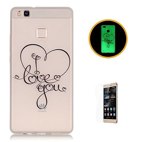 CaseHome Huawei P9 Lite Luminous Hülle (Mit Frie Displayschutzfolie) Leuchtende Silikone Rückhülle Für iPhone 6 6s Plus 5.5 Zoll Zoll Silikon Etui Handy Hülle Weiche Transparente Luminous TPU Back Case Tasche Schale Leuchten In Der Nacht Für Huawei P9 Lite-Ich liebe dich