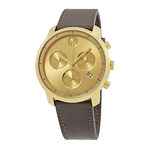 Movado Men' s Bold 44 mm Brown Leather Band Steel case Quartz Watch 3600477