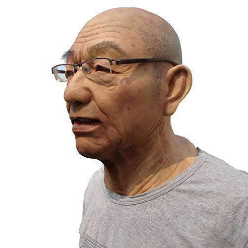 LPVIE Wirkliche alte Mann-Maske, Silikon-Material Bequeme Breathable Tarnung Alter Mann verwendbar für Halloween-Partei Cosplay-Partei,Ivory