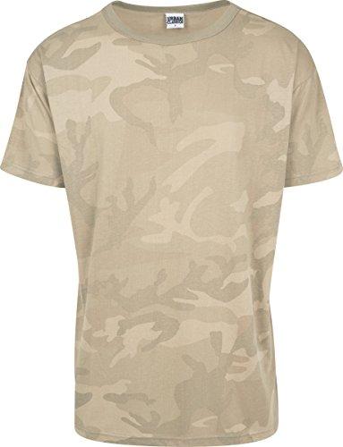 Urban Classics TB1780 Herren Camo Oversized Tee, Kurzarm T-Shirt für Männer IM Angesagten Boxy Cut mit Camouflage All Over Print - Farbe Sand Camo, Größe XXL (Sand-military T-shirt)