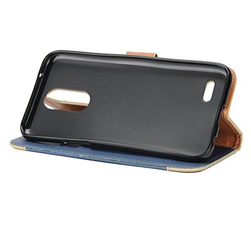 Dual Color Matching Premium PU Leder Flip Stand Case Cover mit Card Cash Slots und Lanyard für LG K4 2017 ( Color : Purple ) Blue
