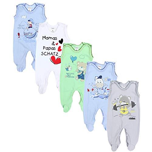 TupTam Unisex Baby Strampler mit Aufdruck Baumwolle 5er Set, Farbe: Junge 2, Größe: 56