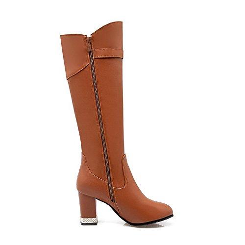 AllhqFashion Damen Rein Blockabsatz Rund Zehe PU Leder Reißverschluss Stiefel mit Anhänger, Grau, 35