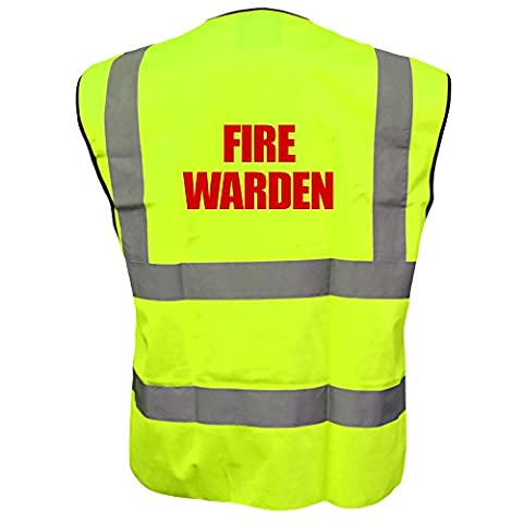 Printed Fire Warden High Visibility Hi Vis Viz Vest Safety Waistcoat Yellow L