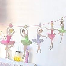 SUNBEAUTY bandera de 10 piezas ballet niña tarjetas DIY decoración para bodas Cumpleaños festivales dormitorio de niños suministros al aire