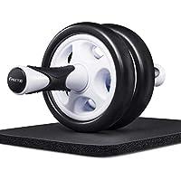 FREETOO Roue Abdominaux AB Wheel Roller de Fitness Musculation Appareil Abdos-Tapis Epais pour Genou- Noir et Blanche