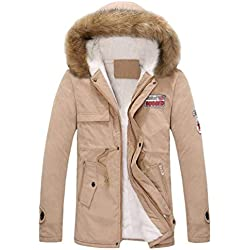 Weimilon Style Paia Winter Fleece Hooded Giubbotto Coat Parka Trench Giubbino Addensare Warm Windproof Long Jacket Outwear Coat Winter Jacket Top (Color : Khaki, Size : S)