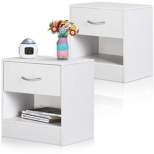 Deuba Nachttisch 2er Set Weiß Schublade mit Griff & Ablagefach 39x28x41 cm Holz Nachtkommode Nachtkonsole Nachtschrank