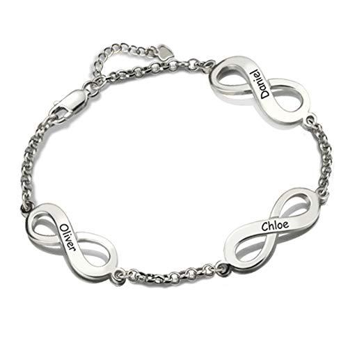 Bokning Personalisiertes Armband Weihnachtsschmuck Geschenk Triple Infinity Namen Armband personalisierten Schmuck für Frauen