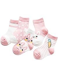 SYEEGCS Calcetines de algodón recién nacido para niños pequeños 5 pares Calcetines de tobillo respirable delgado