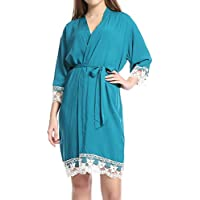 Juleya más Nuevo Atractivo Atractivo túnica Kimono Estilo Boda Corto algodón Bata de Encaje Albornoz Vestido