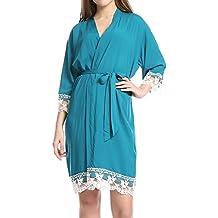 Juleya Mujeres Albornoces Vestido Sólido Partido Camisón Nuevo Algodón Suave Novia Pijamas Niñas ...