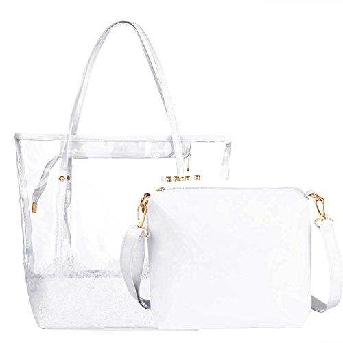 Vbiger Strandtasche Damen Handtasche Damen Henkeltasche Strandtasche Damen Schultertasche 2 in 1 für Damen - Stil3-weiß