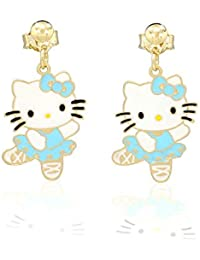 12cbfb084e84 Pendientes Hello Kitty tono oro amarillo y lacado azul