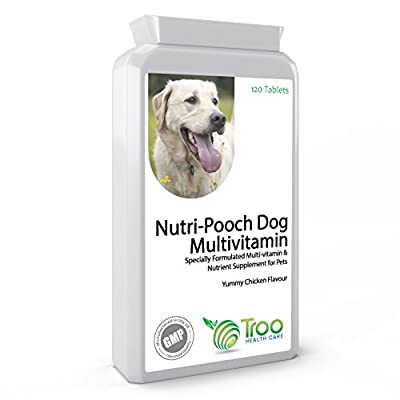 Nutri-Pooch Multivitamins for Dogs 120 Chewable Tablets - Best Essential Dog Vitamins & Minerals for Young or Senior Pets - UK Made GMP Quality Assurance from Troo Health Care