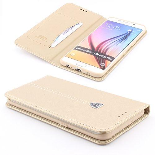 [S6 EDGE PLUS +] Handy Schutz Tasche Noble Series Cover für Samsung Galaxy [S6 EDGE PLUS +] edle Book Style Hülle mit Aufstellfunktion und Kartenfach ScorpioCover champagner gold
