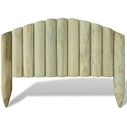 Festnight Lot de 10 pièces Bordure en Bois de pelouse Jardin Pin imprégné Clôtures décoratives Longueur: 55 cm