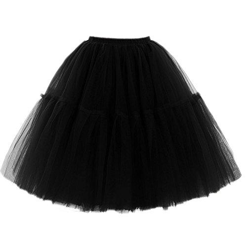 SCFL Adult Ballett Ballettröckchen Layered Organza Spitze Mini Rock Damen Prinzessin Petticoat Tutu Tüll Midi Knie Länge Rock Underskirt für Prom Party