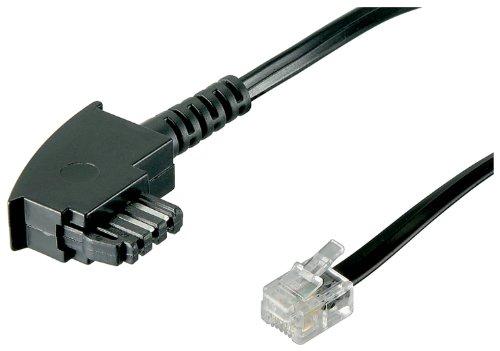 Wentronic TAE Anschluß-Kabel (TAE-F Stecker auf Westernstecker) schwarz 10m