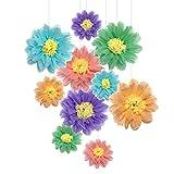 Pompones de papel de flores - perfecto para decoración de boda - Celebración de cumpleaños - Fiesta de boda y decoración al aire libre - 10 piezas de 8.12 pulgadas