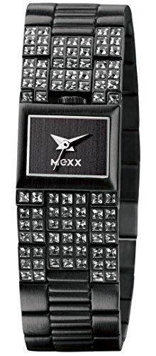 MEXX IMX4011 - Reloj analógico de mujer de cuarzo con correa de acero inoxidable negra