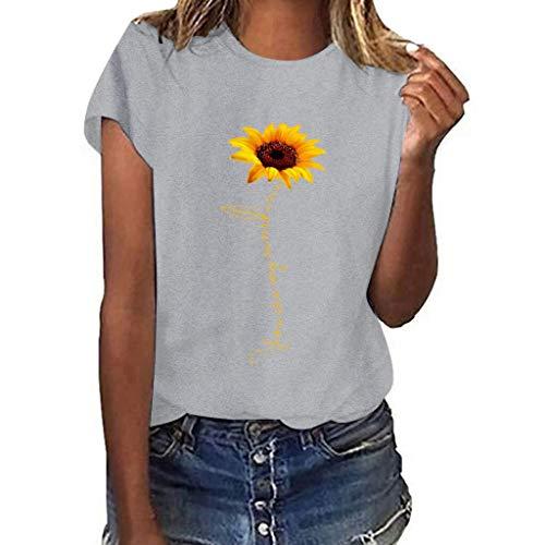 VECDY Damen T Shirt Plus Size Tops Sunflower Print Kurzarm T-Shirt Bluse Pullover Mode Sweatshirt Tees S-3XL (Plus Size Batman)