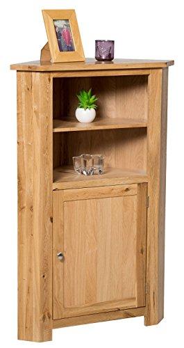 waverly-oak-corner-storage-cabinet-in-light-oak-finish-low-cupboard-with-shelf-solid-wooden-unit
