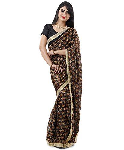 Black Multi Phulkari Saree with Free Blouse