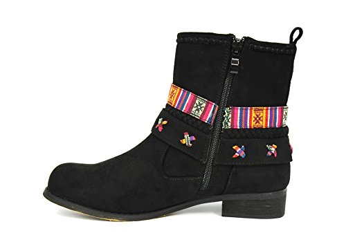 SHF62 * Bottines Boots Plates Effet Daim Uni avec Ruban Aztèque, Tresse et Pompons Franges - Mode Femme (Noir) Noir