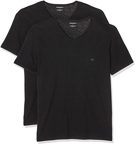 Emporio Armani Underwear Herren Schlafanzugoberteil 111648CC722, 2er Pack, Schwarz (Nero/Nero 07320), Medium (Armani-jersey-t-shirt Emporio)