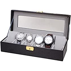 Hualing Carbon Fiber 6 Grid Watch Box High - end PU Watch Box 6 Watch Box Professional Custom Wooden Watch Box