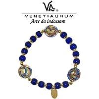 Venetiaurum - Bracciale elastico in vetro di Murano e Argento 925 Made in Italy