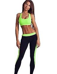 ALAIX Pantalones 2 piezas juego de los deportes Medias ejercicio de yoga polainas de las mujeres verde-M