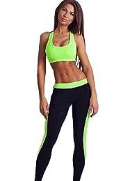 ALAIX Pantalones 2 piezas juego de los deportes Medias ejercicio de yoga polainas de las mujeres verde-L