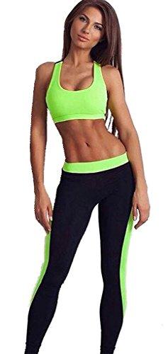 Des Femmes 2 Piece Sport Costume Collants Pantalons Yoga d'exercice Leggings vert-L