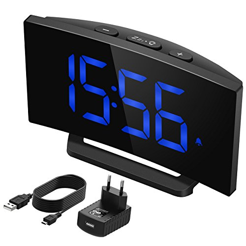 Digitaler Wecker, Mpow Digitalwecker mit 5'LED-Display, Digitaluhr, Tischuhr, 3 Alarmtöne mit 2...