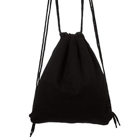 Lady Donovan - Tasche Turnbeutel Jute-tasche Jutebeutel einfarbig - Schwarz