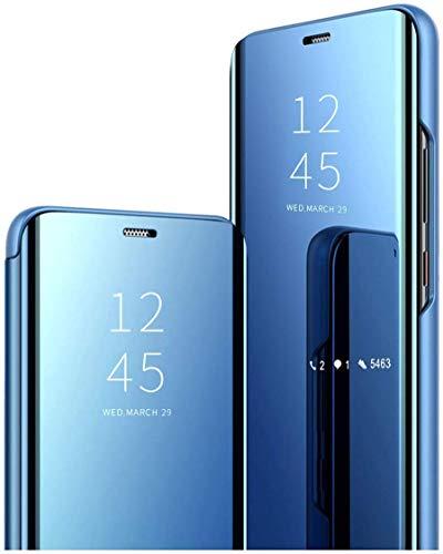 Happy 1st Funda Compatible con Xiaomi Mi Mix 2, Carcasa Espejo Mirror Flip Caso Clear View Standing Cover Mirror PC + PU Case Protectora Cubierta para Xiaomi Mi Mix 2 Smartphone, Azul