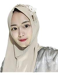 MEYINI Musulmano Hijab Avvolgere - Arab Sciarpa di Testa Foulard Copricapo  a Fiori Scialli con Copricapo 1257171a7291