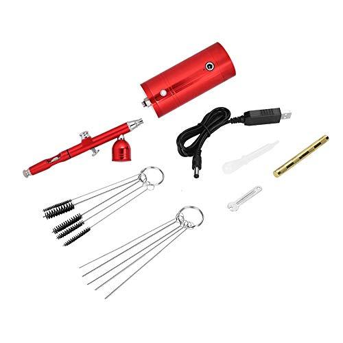 Aufee 0,3mm Airbrush, 7cc Tragbarer Kompressor Tattoo Air-Paint Control Gun Malerei Spritzpistole Set Kit für Gesicht Körper Kuchen Artwork (rot)
