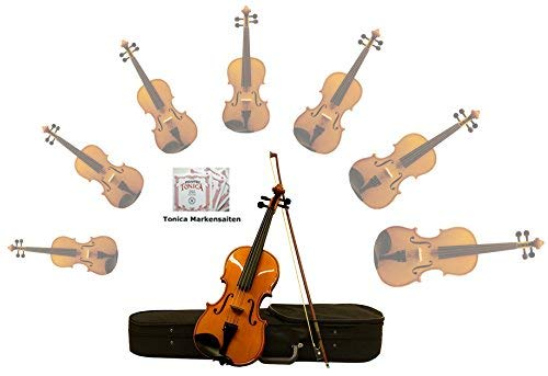 Sinfonie24 Geige/Violine Größe 4/4 für Einsteiger, Hamburger Geigenbau Manufaktur, (Basic II) Set mit Koffer, Bogen und Kolophonium, bernsteinfarbend, spielfertig eingerichtet mit Markensaiten (Kind Größe Violine)