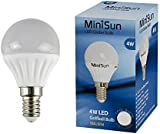 MiniSun 4w LED SES E14 Golfball Energy Saving Long Life Light Bulb - 6500K Cool White/Daylight