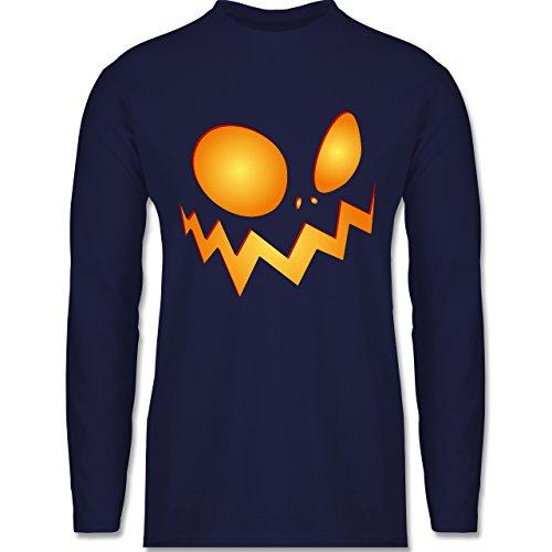 Halloween - Kürbisgesicht groß Pumpkin - Longsleeve / langärmeliges T-Shirt für Herren Navy Blau