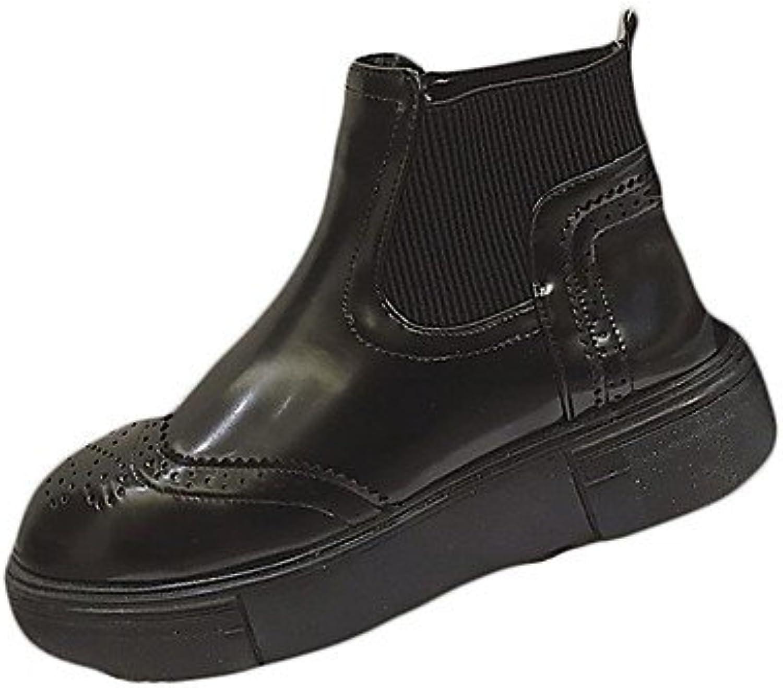 RTRY Zapatos De Mujer Otoño De Goma Botas Botas De Combate Talón Plano Ronda Toe Para Negro Exterior Us8 / Ue39...