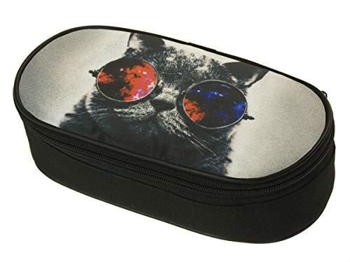 Schlamperbox mit Stifte-Organizer Federtasche Schlamperbox Federmäppchen Schwarz für Einen Jungen und Ein Mädchen Galaxy Sonnenbrille Katze [086]