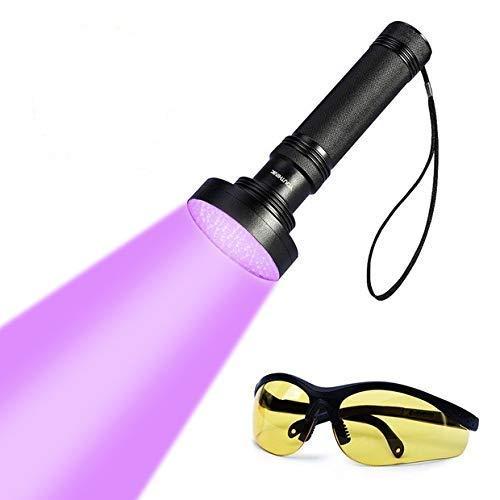 UV Taschenlampe Schwarzlichtlampe mit 100 LEDs 395nm Ultraviolet Lampe und Brille als Hund Katze Urinflecken Detektor Geldscheinprüfer Fleckendetektor für Fluoreszierend Stoffe (100 LED) (Uv-lampe Langwellige)