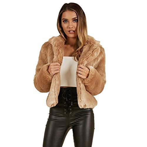 Yanhoo Damen Winter Mantel Reverskragen Kunstpelzmantel Frauen Warme Langarm Rundhals Ausschnitt Kunstpelz Kurze Jacke Top