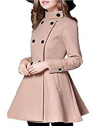 Lauriney Gabardina Color Largos Doble Elegantes Parka Fashion Slim Manga  Fit Larga Mujer Casual Primavera con c0127671dec0